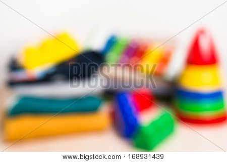 Unfocused background of the kids clothes and toys