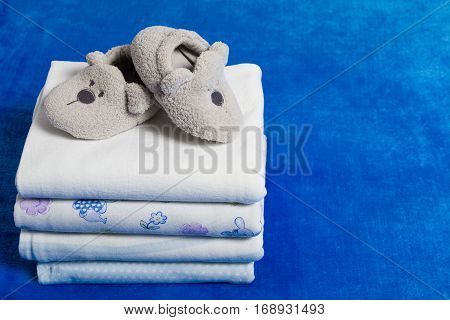 Set of the diapers and booties with copy space