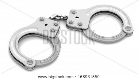 Handcuffs. Steel handcuffs -- isolated in white background. 3D Illustration