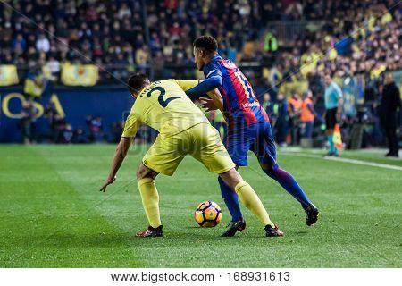 VILLARREAL, SPAIN - JANUARY 8: 2 Mario and Neymar during La Liga soccer match between Villarreal CF and FC Barcelona at Estadio de la Ceramica on January 8, 2016 in Villarreal, Spain