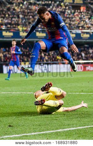 VILLARREAL, SPAIN - JANUARY 8: Neymar jumps during La Liga soccer match between Villarreal CF and FC Barcelona at Estadio de la Ceramica on January 8, 2016 in Villarreal, Spain