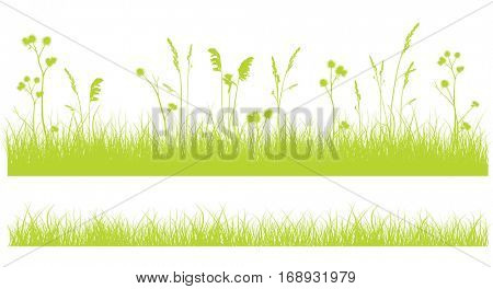 Set of 2 green monochrome grass borders isolated on white.