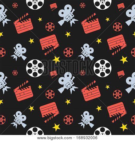 Cinema concept seamless pattern. Flat vector cartoon cinema illustration. Flat vector cartoon illustration.
