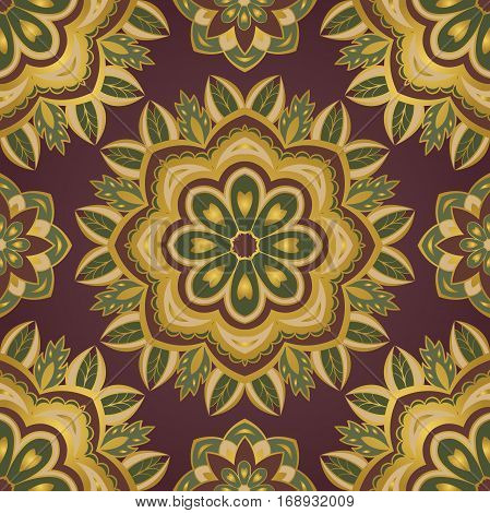 Floral color pattern of mandalas. Vector oriental ornament. Template for textile rug carpet shawl.