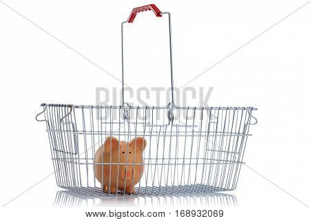 Steel shoping basket isolated on white background