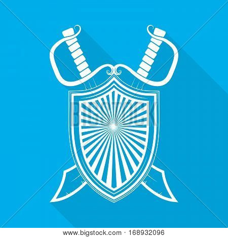 Shield with two crossed swords in flat style. White shield and swords with long shadow on blue background. Vector illustration.