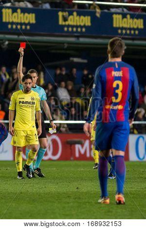 VILLARREAL, SPAIN - JANUARY 8: Referee shows red card to Costa during La Liga soccer match between Villarreal CF and FC Barcelona at Estadio de la Ceramica on January 8, 2016 in Villarreal, Spain