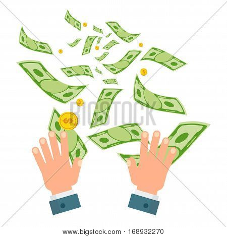 Waste of money concept. Dollar bills flying out of hands. Concept of a careless waste of money bankruptcy waste. Flat vector cartoon money illustration. Objects isolated on a white background.
