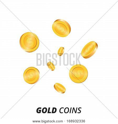 Gold coins vector illustration. Gold coins background. 3d vector coins set.