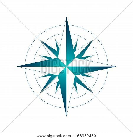 icon windrose. vector illustration. blue outline on a white background.