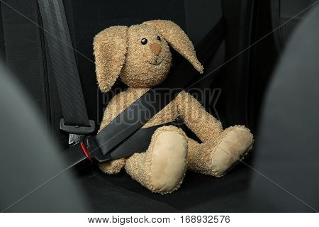Fastened toy bunny sitting on car seat poster