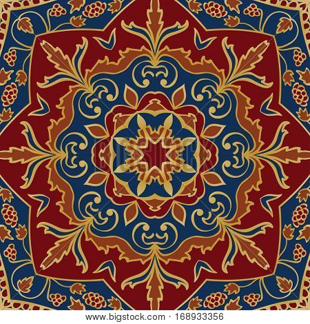 Oriental colorful pattern of mandalas. Vector rich ornament with floral elements. Template for textile carpet shawl.