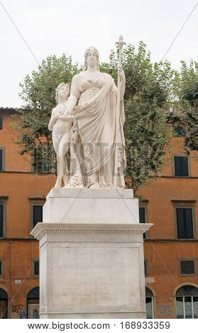 Statue of Maria Louisa of Spain, Duchess of Lucca in Lucca, Italy.