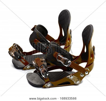 Snowboard bindings. Isolated on white background .