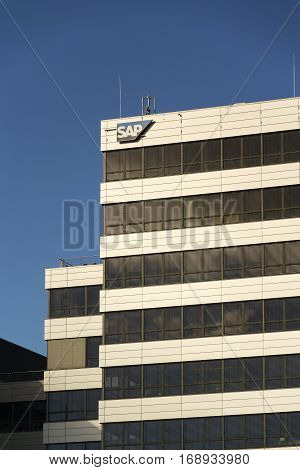 Prague, Czech Republic - February 5: Sap Multinational Software Corporation Logo On Czech Headquarte