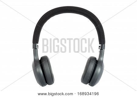 Headphones. Isolated black headphones. Front view. Isolated on white background