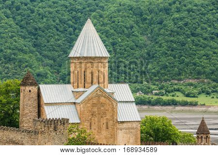 Church In Castle Complex Ananuri In Georgia, About 72 Kilometres From Tbilisi. Famous Landmark. Cultural Historic Heritage. Popular Place.