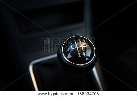 Gearstick of manual gearshift in the car