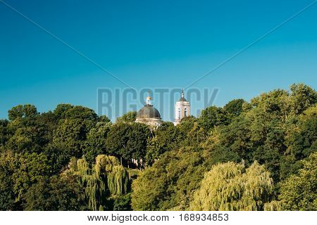 Dome And Bell Tower Of Peter And Paul Cathedral Under Sunny Summer Blue Sky In Gomel, Belarus.