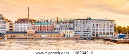 Panorama Of Embankment And Old Market Hall Vanha kauppahalli In Helsinki At Summer Sunset Evening, Sunrise Morning, Finland. Town Quay, Famous Place