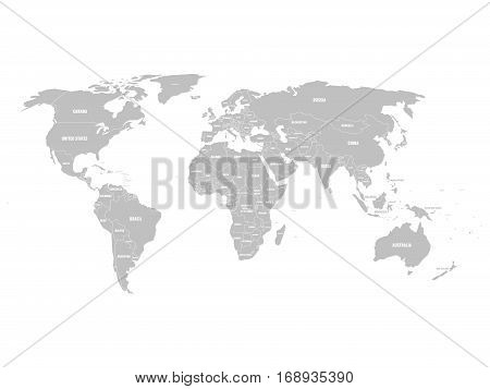 Grey political World map with country borders and white state name labels. Hand drawn simplified vector illustration.