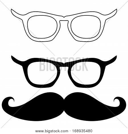 Black two spectacles and one mustache - set icons.