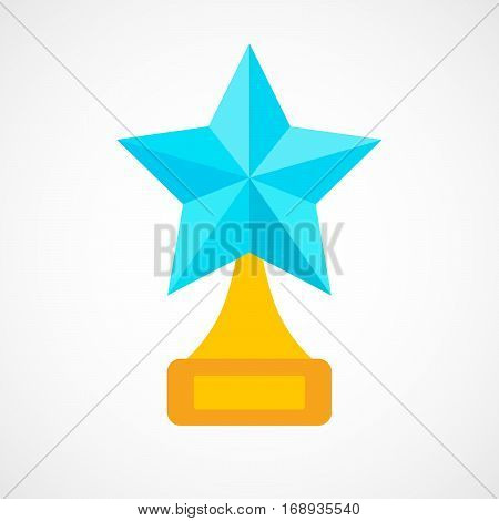 Star award on blank trophy. Reward icon isolated on white background. Star reward in flat design. Vector illustration. Concept of success or victory.