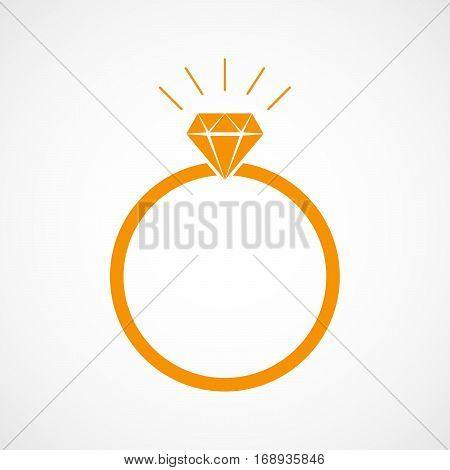 Orange wedding ring icon in flat design. Ring with diamond isolated on light background. Vector illustration.