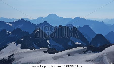 Mount Grassengrat Oberalpstock and many more. Rugged mountains in Switzerland view from mount Titlis.