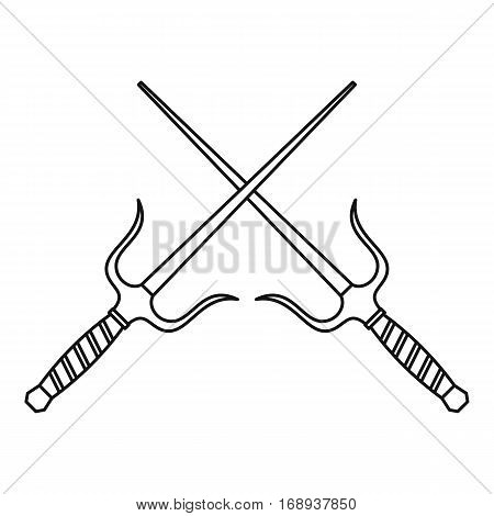 Sai dagger weapon icon. Outline illustration of sai dagger weapon vector icon for web