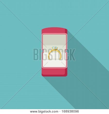 Ring with diamond in box. Proposal marriage, vector flat style illustration.