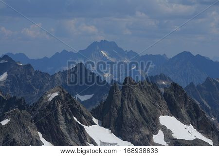 Rugged mountains in the Swiss Alps.Grassengrat and mount Oberalpstock view from mount Titlis.