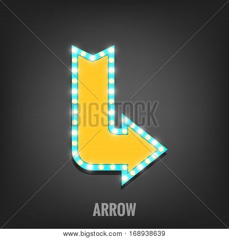 Sign with light bulbs. Shiny arrow sign banner. Light sign with lamps