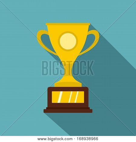 Gold winner cup icon. Flat illustration of gold winner cup vector icon for web   on baby blue background