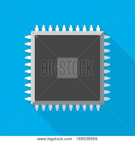 Chip icon in flat design. Simple microchip with long shadow on blue background. Microcircuit flat sign. Vector illustration.