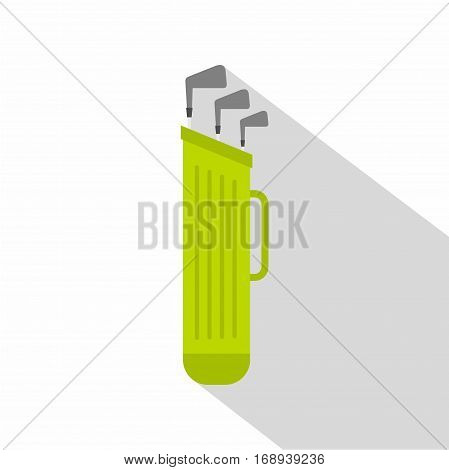 Golf bag with clubs icon. Flat illustration of golf bag with clubs vector icon for web   on white background