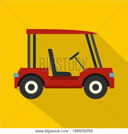 Red golf cart icon. Flat illustration of red golf cart vector icon for web   on yellow background