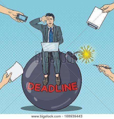 Pop Art Multi Tasking Businessman Working on Deadline Bomb. Vector illustration