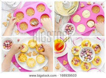 Child cooking Easter nest cakes Easter recipe step by step