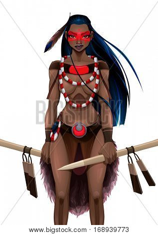 Beautiful amazon warrior. Vector illustration, isolated character