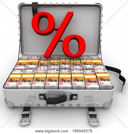 Beneficial interest. Business concept. Red percentage sign and a suitcase filled with packs of Russian rubles. Isolated. 3D Illustration