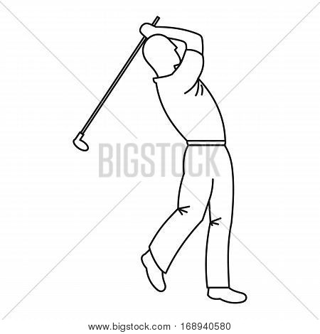 Golfer icon. Outline illustration of golfer vector icon for web