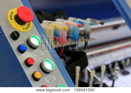 Control panel of large format printer. Selective focus.