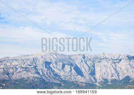 Beautiful Biokovo stone mountain landscape in Dalmatia region Croatia