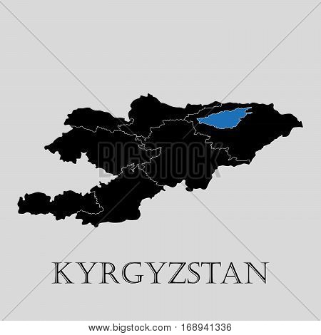 Black Kyrgyzstan map on light grey background. Black Kyrgyzstan map - vector illustration.