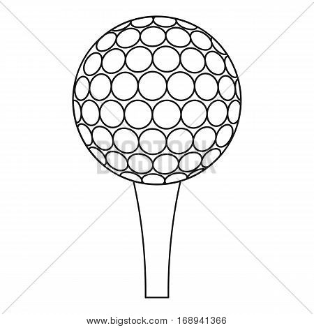 Golf ball and tee icon. Outline illustration of golf ball and tee vector icon for web