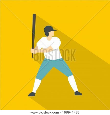 Professional baseball player icon. Flat illustration of professional baseball player vector icon for web   on yellow background