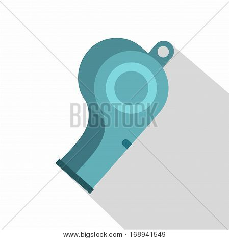Blue sport whistle icon. Flat illustration of blue sport whistle vector icon for web   on white background