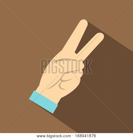 Two fingers raised up gesture icon. Flat illustration of two fingers raised up gesture vector icon for web   on coffee background