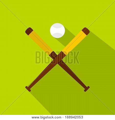 Baseball bats and baseball icon. Flat illustration of baseball bats and baseball vector icon for web   on lime background
